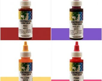 Chef Master Liquid Candy Color 2 oz for candy apples, chocolate, cakes, cupcakes, baked good