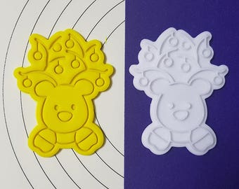 Decorated Rudolf  Cookie Cutter and Stamp