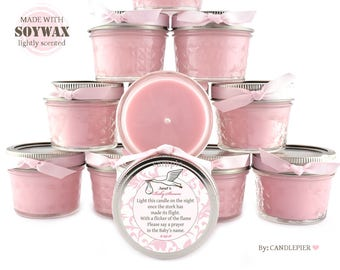 Set of 12 pink stork baby shower favors, 4 oz personalized soy candles, gender reveal party favors, stork themed baby shower decoration