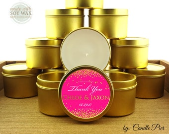 12 ct Gold and hot pink theme wedding favors, bridal shower favors, anniversary favors, 4 oz tin candles, personalized soy candles