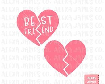 Best Friend svg, BFF svg, Best Friends svg, Broken Heart svg, Split Heart svg, Print or Cut File,  Cricut,  Silhouette, svg png pdf