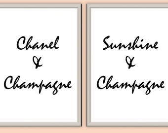 Chanel, Sunshine and Champagne // Wall Art // Home Decor // Typography Print // A3 A4 A5 // + &