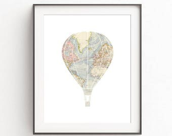 Hot Air Balloon Art, Hot Air Balloon Print, Travel Decoration, Travel Room Decor, Travel Nursery Print, World Map Prints, DIGITAL DOWNLOAD