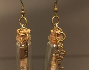 Map in A Bottle Under Lock and Key Bronze Charms Tiny Bottle Earrings