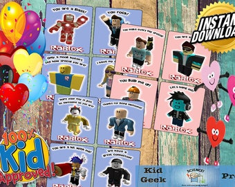 Set of 12 unique Roblox Valentine's day cards! 24 cards per PDF packet!