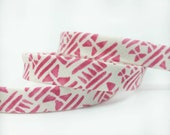 Pink Geometric Bias Tape -  1/2 in Double Fold - 12mm - Quilt Binding - Cotton + Steel Panorama - Stamps in Pink - Alexia Abegg