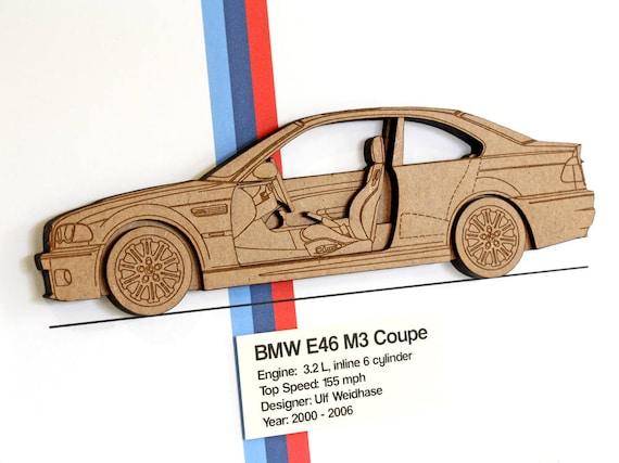 Bmw e46 m3 coupe bmw m3 blueprint laser cut wood bmw decor like this item malvernweather Gallery