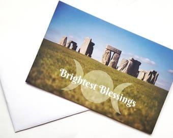 Handfasting Card, Stonehenge Art, Triple Moon Goddess, Pagan Cards, Wiccan Greetings Cards, Blessing Cards, Brightest Blessings