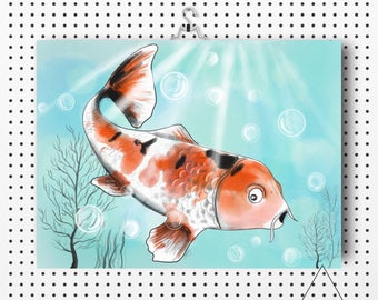watercolor poster, Koi fish illustration, watercolor fish, minimalist, house decoration, stefy artist, paper reproduction, stefy