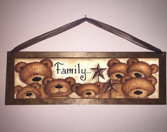 15x5 Bear Family Home Decor Art Sign with Choice of Black Wire or Brown Ribbon for Easy Hanging