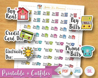 SALE 50% OFF Home Bill Stickers, House Bill Stickers, Pay Rent Stickers, Credit Card Stickers, Kawaii Cute Planner Stickers Instant Download
