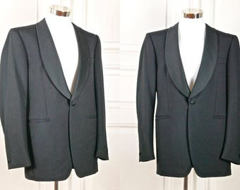 European Vintage Tuxedo Jacket, Black Dinner Jacket, Shawl Collar Smoking Jacket, European Wool Blazer, Wilvorst: 42L US/UK