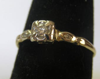 Vintage 14 K Solid Gold Diamond Illusion Ring
