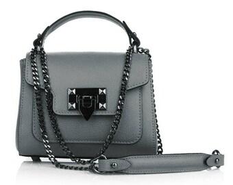 MARIKA Italian mini clutch handbag with dark nickel metal chain flap bag palmellato leather evening mini clutch pochette bag