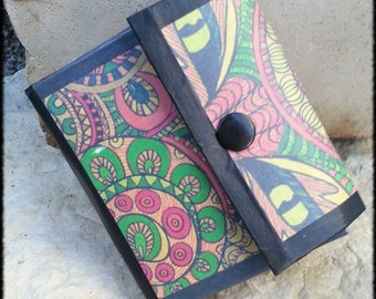 "Multicolor collection ""cat eyes"" pocket card holder wallet style upcycling"