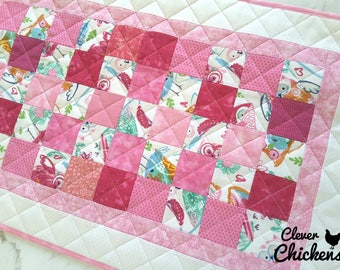 Waterproof Baby Change Mat, Change Pad Wipeable, Unique Baby Shower Gift, New Baby Gift, Baby Girl, Newborn Gift, Owls White Pink Red