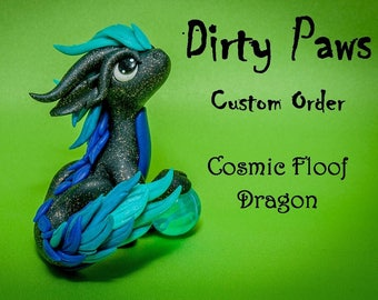 Custom Cosmic Floof Dragon Sculpture Dirty Paws