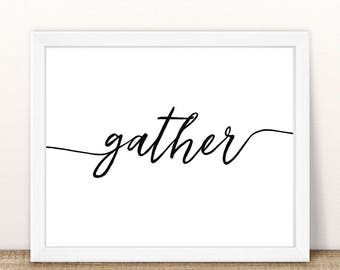"PRINTABLE Gather Wall Print, Thanksgiving Wall Print, Calligraphy Gather, Autumn Printable, Fall Printable, Thanksgiving Decoration, 8x10"""