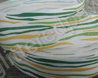 """1.5"""" St Patrick's Day Green and Gold Tiger Stripe Grosgrain Ribbon"""