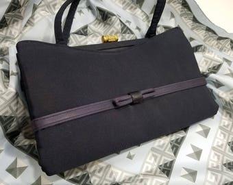 Beautiful Black Taffeta Evening Bag with Bow Accent