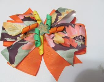 Fall Leaves Autumn  Stacked Ribbon Hair Bow 6 inch