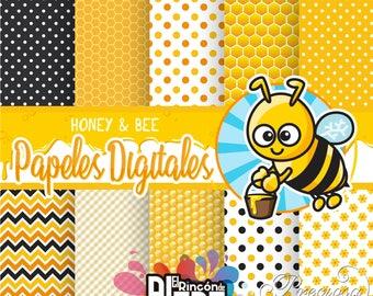 10 digital papers 12 x 12 Honey & Bee