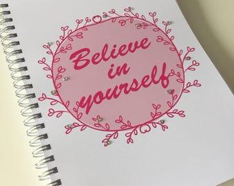 Slimming World Friendly - Food Planner Diary - Diet Tracker - Food Log - 8 Week / 12 Week Planner - Believe In Yourself with BLING
