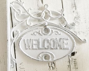 Cast Iron Welcome  GoodBye Sign, Welcome Doorway Sign, Welcome Entry Sign