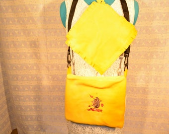 Super Cute Hedgehog or Guinea Pig Carry Bag.  Embroidered.   Yellow Hedgehog with Fall Leafs **Ready to Ship