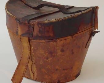 Antique 19th century English Garret Leather Top Hat Box