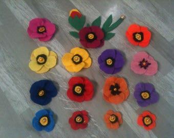 poppy flower embelissement felt/flower color choice/flower felt artificial/felt flower