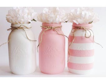 Pink Mason Jars, Pink and White Centerpieces, Stripes Centerpieces