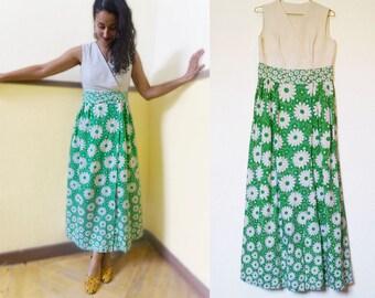 1970s Daisy Maxi Dress, Small, Cotton dress, 70s maxi, Vintage dress