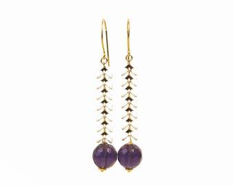 Gold plated 18 k, enamel and Amethyst Quartz earrings