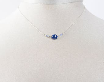 Necklace chain 925 sterling silver and Lapis Lazuli