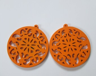 prints 2 openwork wood, 53 mm round wood beads