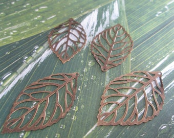 2 large leaf charms bronze metal filigree 55 x 32 mm
