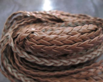 faux 5 mm Brown flat braided leather cord