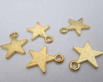 Star 10 charms in gold tone 15 x 13 mm