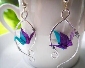 Suspended Origami Crane Dangle Earrings