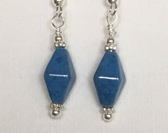 Blue dangle earrings. Blue drop earrings. On silver ear wire.