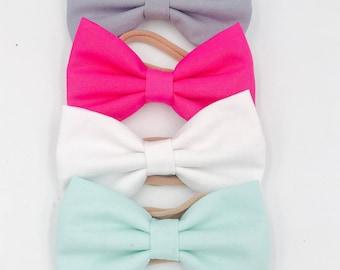 Baby Girl Hair Bows   Bow Headband set   Nylon Headbands - clips - toddler / Infant bows   Fabric bow headband- mint - white - gray - bright