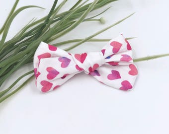 Baby Girl hand tied Bow - Nylon Headbands - Hair clip - Infant / Toddler /  Fabric Hair Bows / Clips - pink / purple - water color hearts