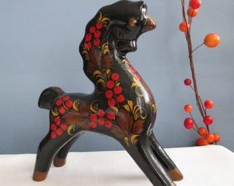 Rare Khokhloma Horse ~ FREE SHIPPING! ~ Traditional Vintage Russian Folk Art
