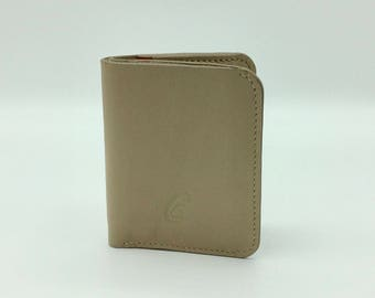 Soft Beige caramel brown leather card holder