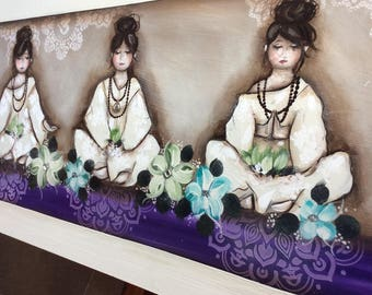 Postage inclided in price. Meditating girls. 1200mm-600mm