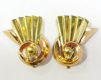 14K Two Tone Retro Fan Earrings (M.C. Mossalone) - X2767