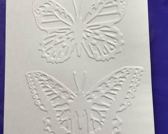 Butterfly embossed blank note card. Set of 5