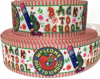 """GROSGRAIN RIBBON 1.5"""" Welcome Back To School B47 Printed  By the Yard"""