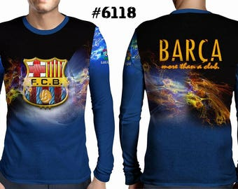 New ultramodern 3D  High Quality  Print Fans Long Sleeve t-shirt Barca